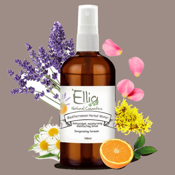 Mediterranean herbal water -Natural Herbal Face Mist - invigorating formula 1 - Ellia Natural Cosmetics - Cyprus Europe